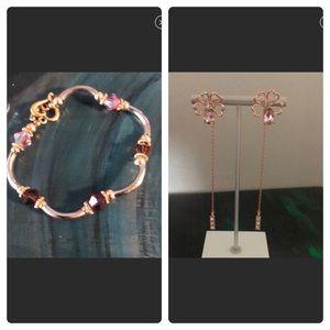 Jewelry - Rhinestone Bracelet with heart Closure & Earrings